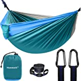 Camping Hammock, Double Hammock with 2 Tree Straps(16+2 Loops), Portable Lightweight Hammocks with 210T Parachute Nylon for O
