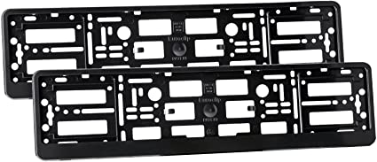 Vehicle Registration Plate Holders 2 x Black ABS Car Number Plate Surrounds