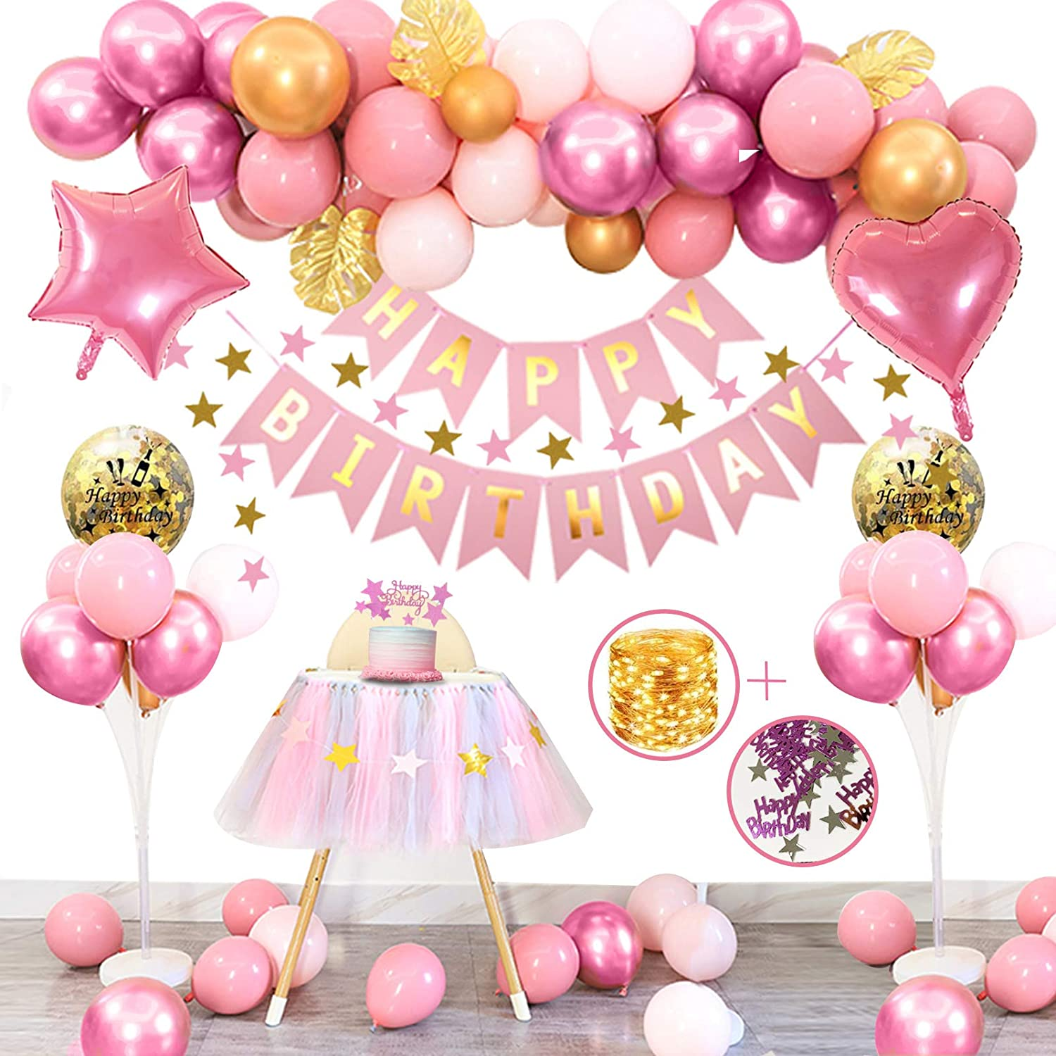 APERIL Pink Birthday Decorations Girls Happy Birthday Banner Pink Balloons Metallic Gold Balloons Foil Balloons Palm Leaves Cake Topper 10g Table Confetti Party Supplies with 3M String Lights