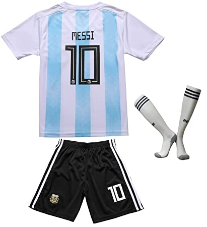 3776db0b4ee EGS FWC 2018 Argentina  10 Messi Home Kids Jersey   Shorts Socks Youth  Sizes (