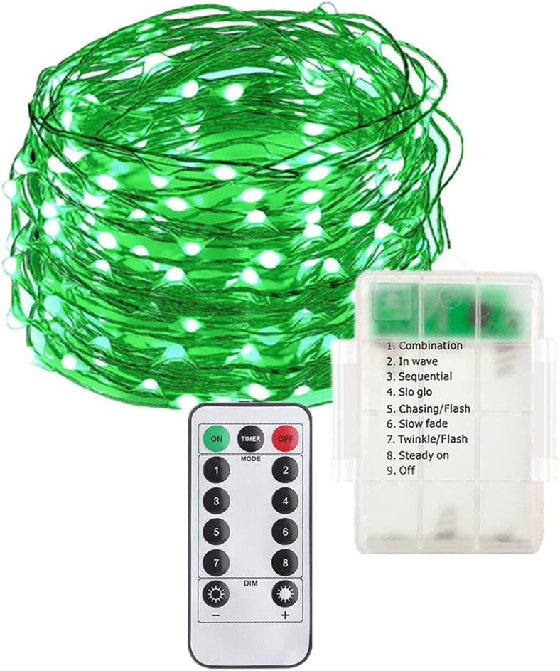MIUVA Fairy String Lights Battery Operated 8 Modes Firefly Twinkling,33FT 100 LEDs Copper Wire Decorative Lights with Remote Control for Indoor,Outdoor,Party,Wedding,Holiday Green