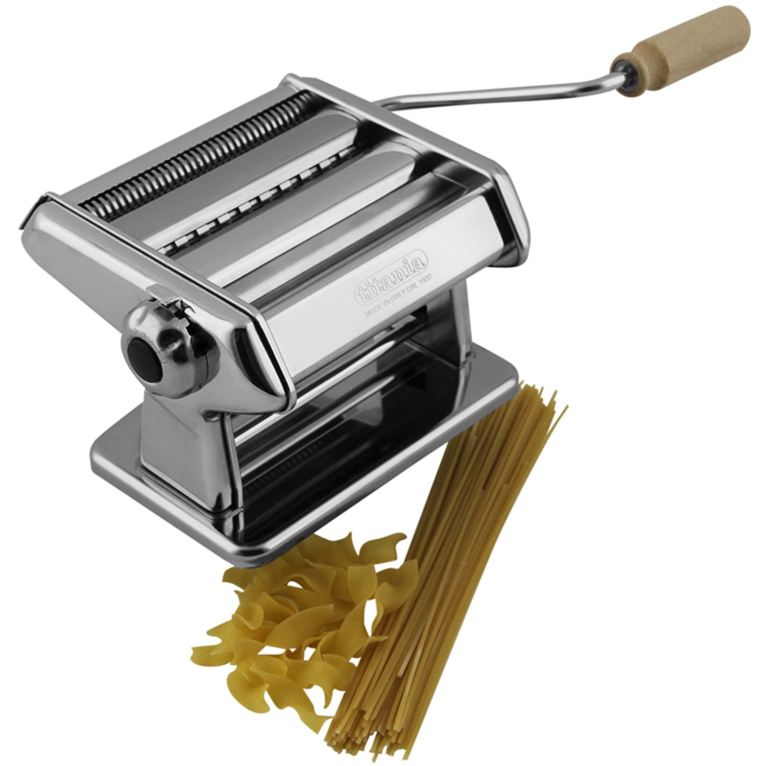Pasta Maker Machine by Imperia- Heavy Duty Steel Construction w Easy Lock Dial and Wood Grip Handle- Model 190 by CucinaPro