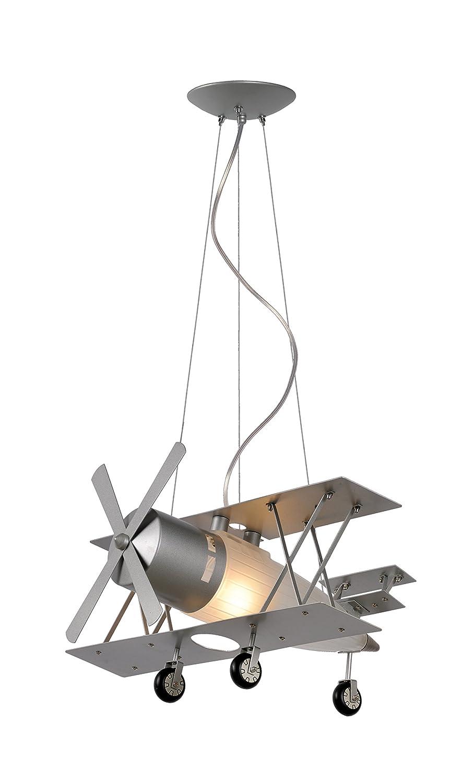 interfan Biplane Lampe Motif avion, couleur argent 26232