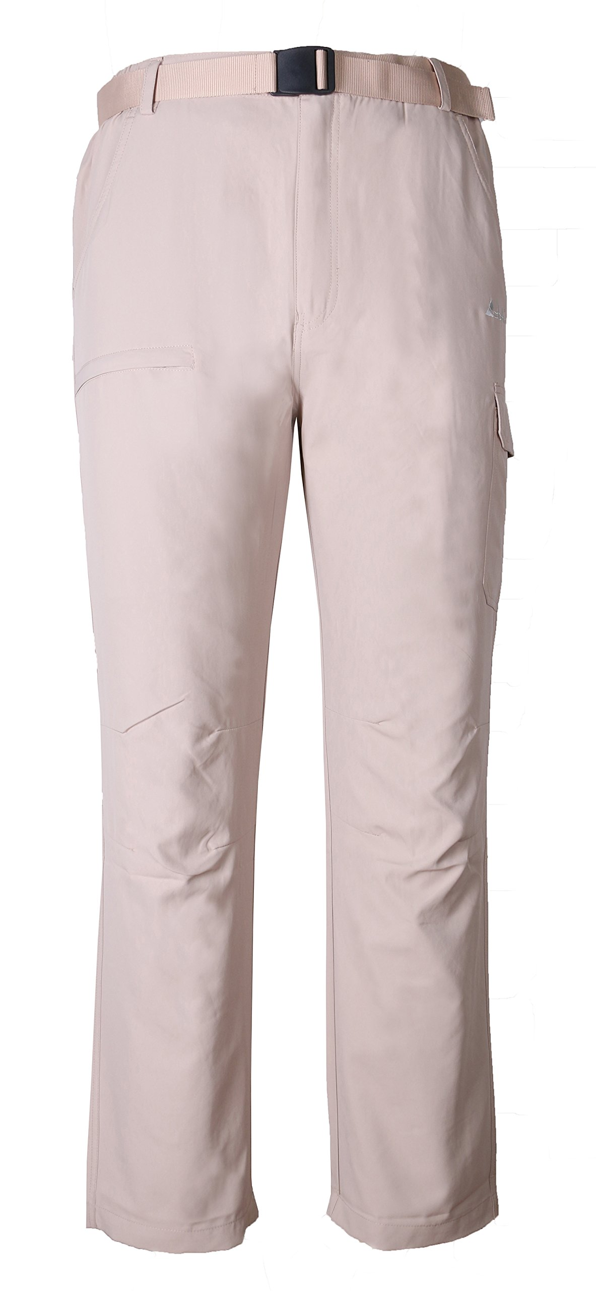 Clothin Mens Belted Side Elastic Cargo Pants - Lightweight, Quick-Dry, Water-Resistant, Khaki, M (33-35W29.5L/Regular)
