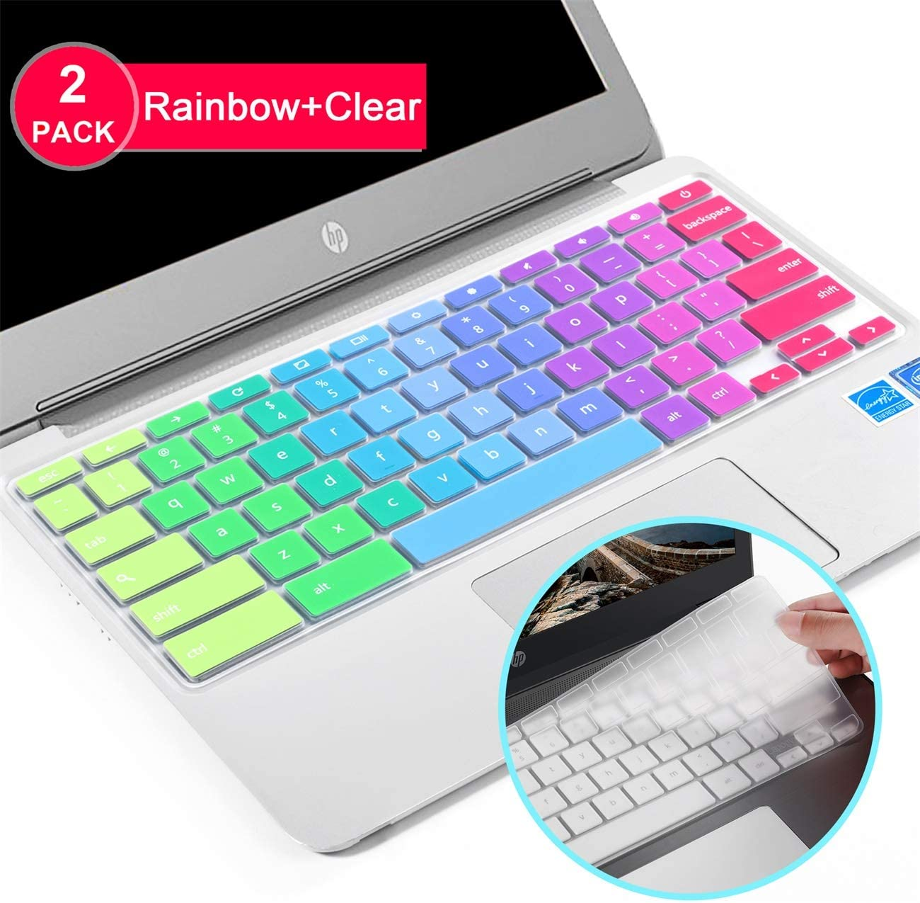"Lapogy[2pcs] Premium Ultra Thin Keyboard Cover Skin for ASUS Chromebook Flip C434TA-DSM4T 2-in-1 Laptop 14"" Touchscreen,C434,C434TA/C425TA/C433TA,ASUS C434TA Accessories(Clear) Rainbow+TPU"