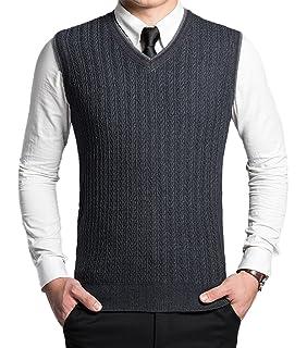 Wofupowga Mens Knitwear Sleeveless Waistcoat Sweater V Neck Pullover Vest