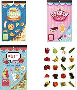 HUGE Lot 1250 FOOD Snack Themed STICKERS - 3 Different Sticker Books & BONUS 20 Fruit & Vegetable NUTRITION PIZZA Ice Cream TEACHER Classroom REWARDS Recognition Motivation PARTY Fun
