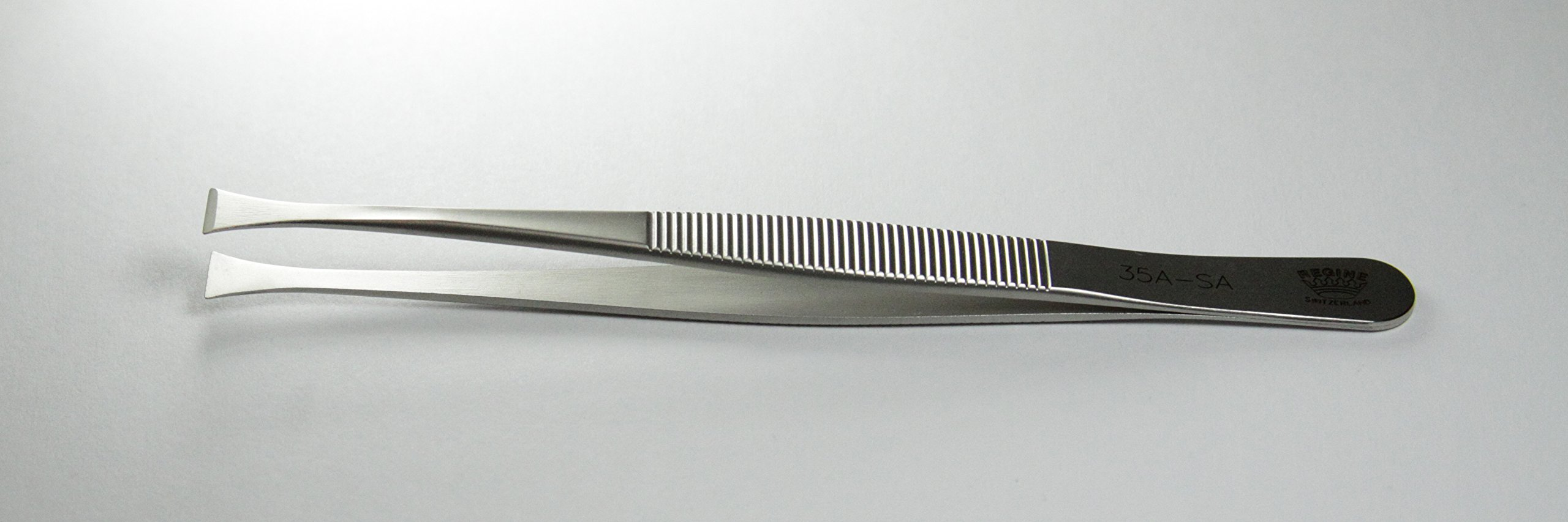 Regine 35A-SA- Flat Points, Straight Tip with Serrated Handle - Tweezer - Antimagnetic, Anti-Acid Steel - Swiss Made - Watchmaking, Electronics, Medical Tweezers by Regine