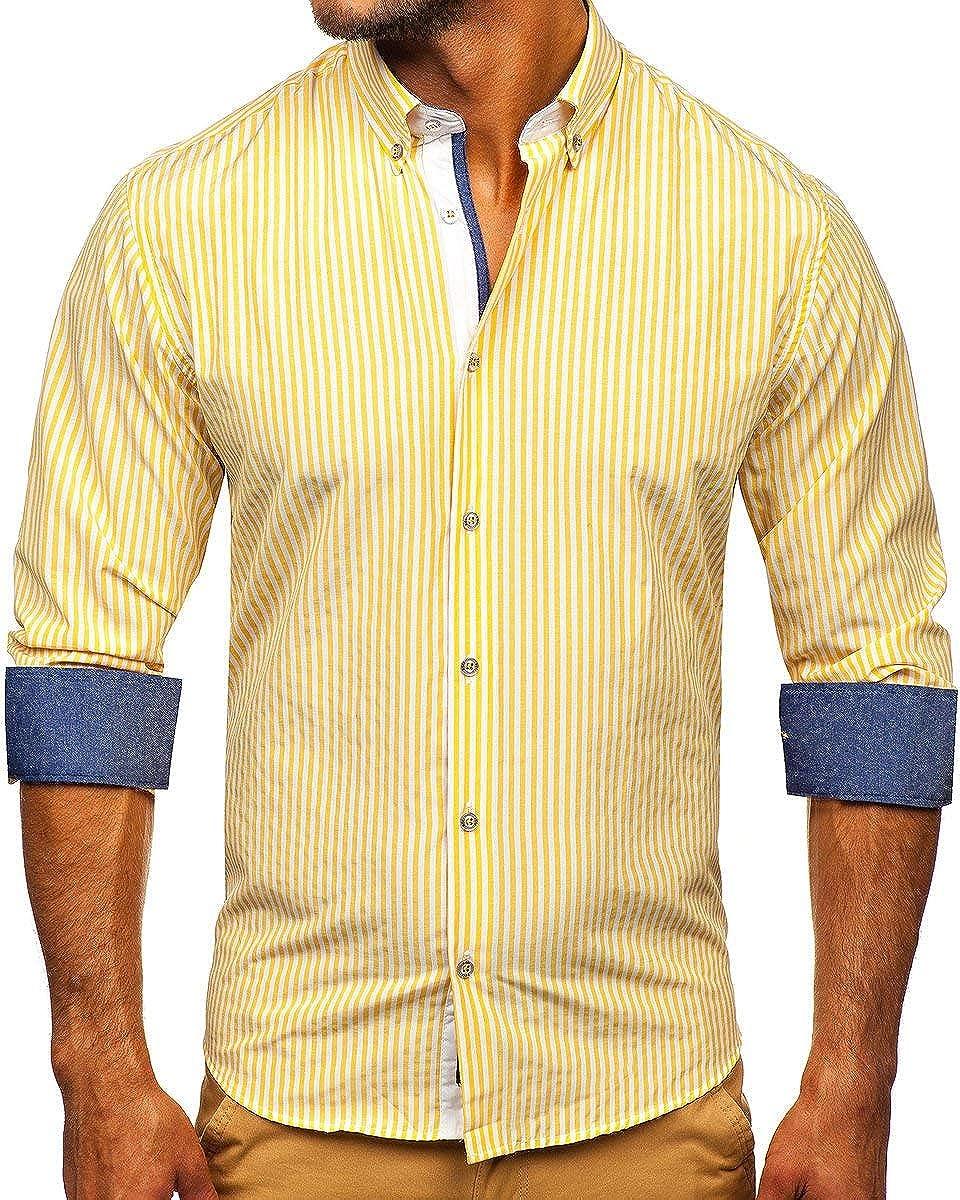 BOLF Hombre Camisa a Cuadros de Manga Larga Cuello Americano Camisa de Algod/ón Slim fit Estilo Casual Mix 2B2