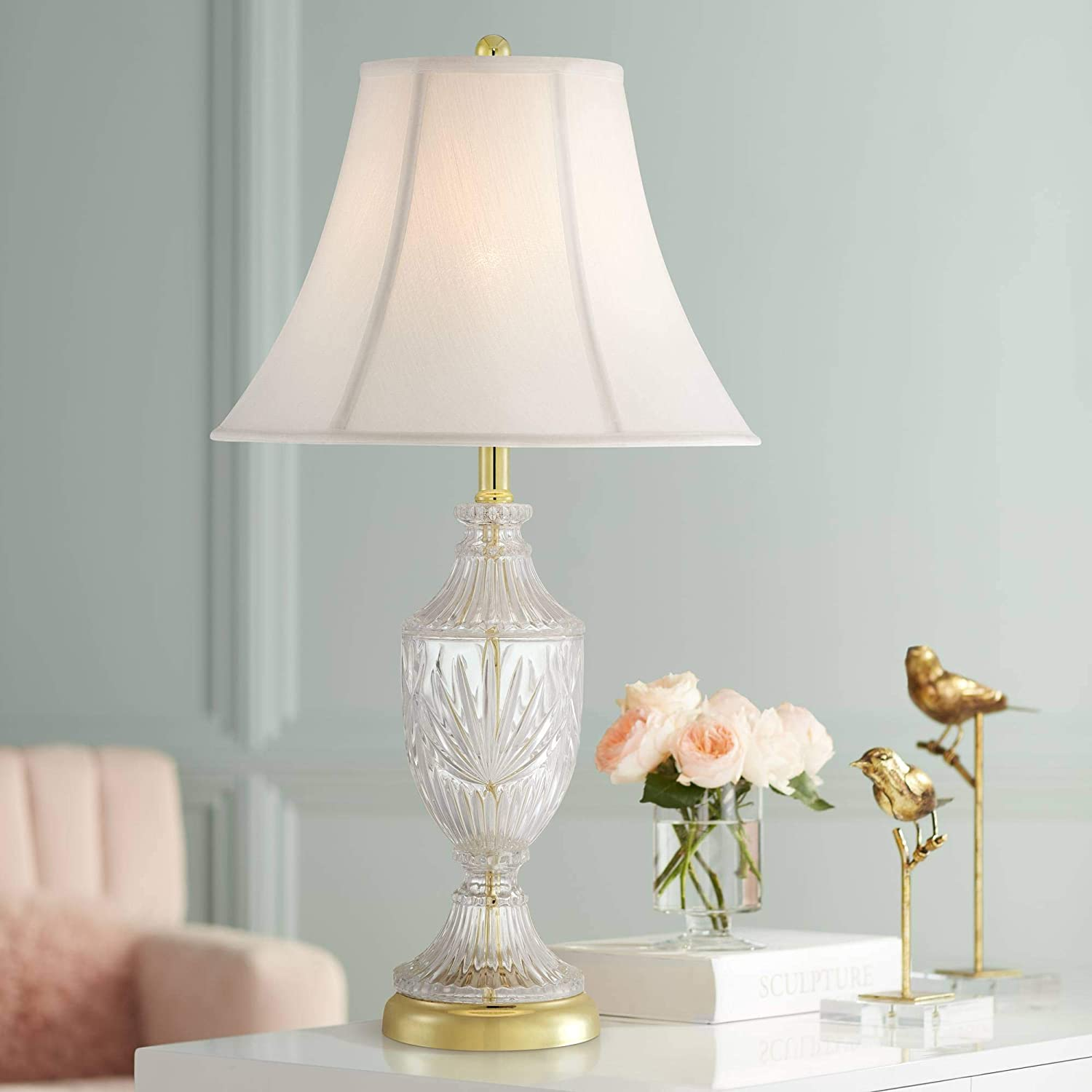 Traditional Glam Style Table Lamp Cut Glass Urn Brass Gold Metal Clear White Cream Bell Glass Shade Decor For Living Room Bedroom House Bedside Nightstand Home Office Family Regency Hill