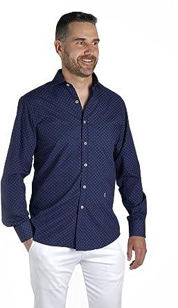 Enrique Pellejero Camisa Azul Marino Estampada con Dibujo (M): Amazon.es: Ropa y accesorios