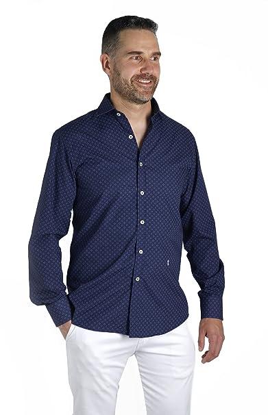268b9e6d7d Enrique Pellejero 🍒 Camisa Azul Marino Estampada con Dibujo (M ...