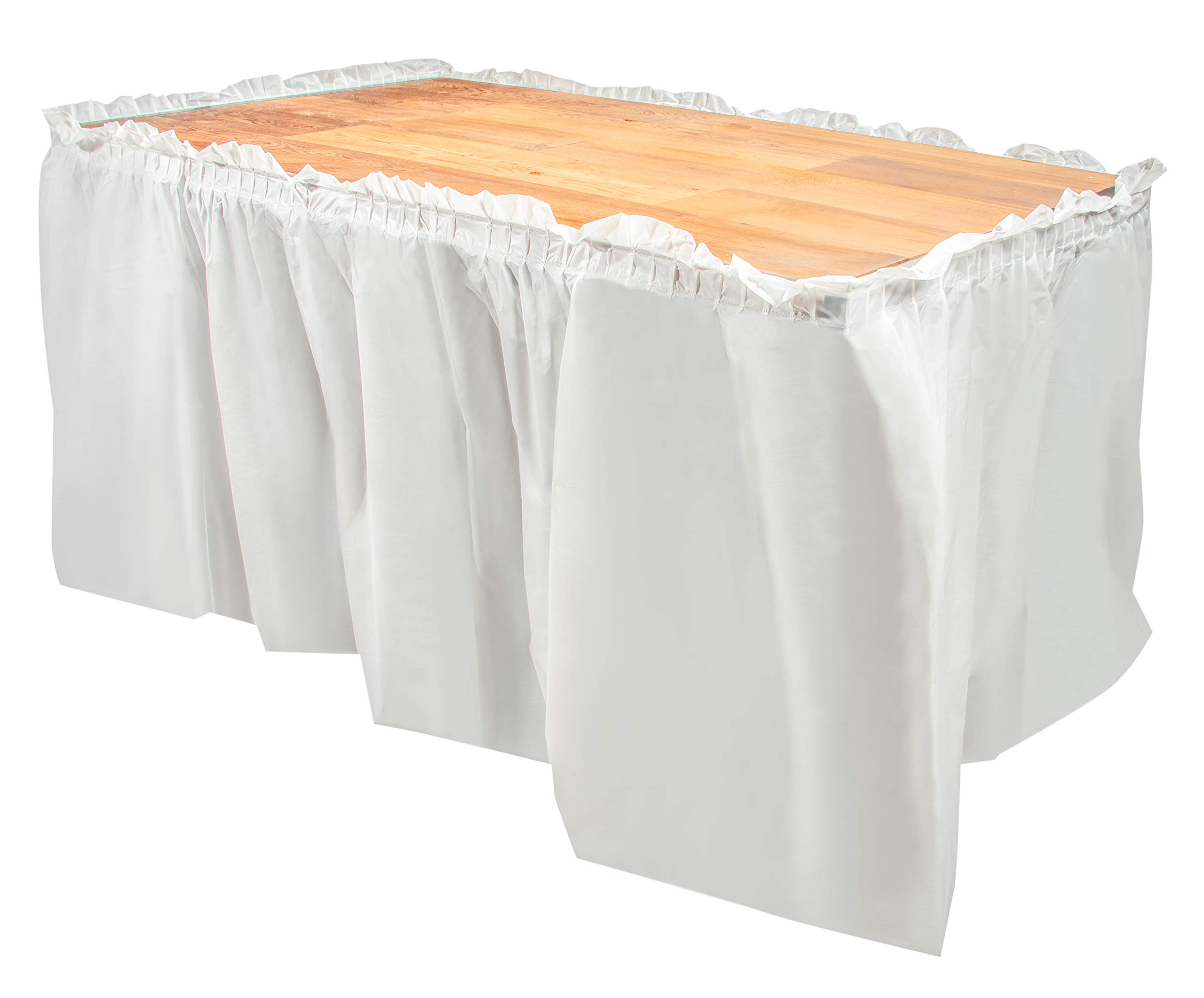 Disposable Table Skirts - 6-Pack Ruffled Plastic Table Skirts - Perfect for Weddings, Engagement Parties, Birthdays, Business Events, Baby Showers, White, Suitable for Tables Up To 8 Feet Long by Juvale