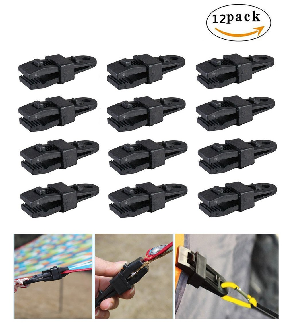 Awning Clamp Set By Garloy,12 Pcs Camping Tent Tarp Clips,Ideal for Tarps, Tents, Wire Racks, and other Camping Accessories
