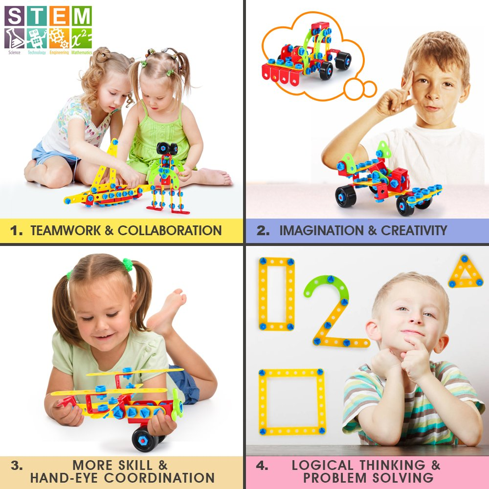LUKAT Bausteine Spielzeug für 4 5 6 Jahre und älter Kinder, Gebäude ...