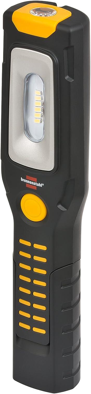 Brennenstuhl LED Taschenlampe mit Akku/Akku Multifunktionsleuchte mit 6 superhellen SMD-LED´s (3 Stunden Leuchtdauer, 360° drehbarer Haken, knickbarer Haltefuß, 2 starke Magnete) Farbe: schwarz/gelb 360° drehbarer Haken knickbarer Haltefuß 00158571