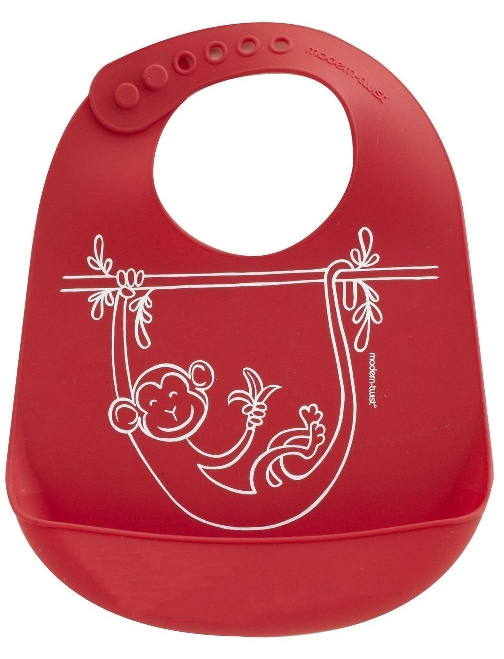 modern-twist Waterproof Silicone Bucket Baby Bib with Adjustable Strap, plastic free, wipe clean and dishwasher safe, Red by modern-twist (Image #2)