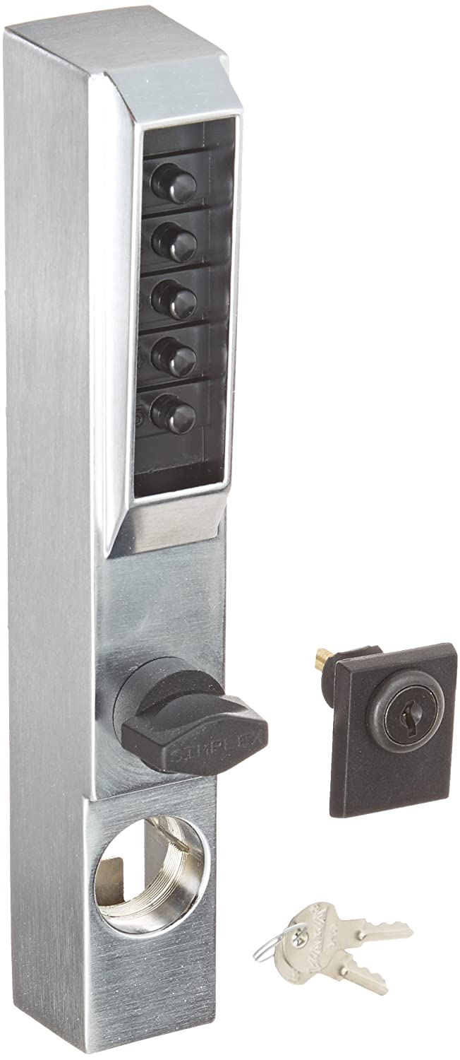 Schlage commercial AL50PDSAT626 AL Series Grade 2 Cylindrical Lock Entry//Office Function Push Button Locking Saturn Lever Design Satin Chrome Finish