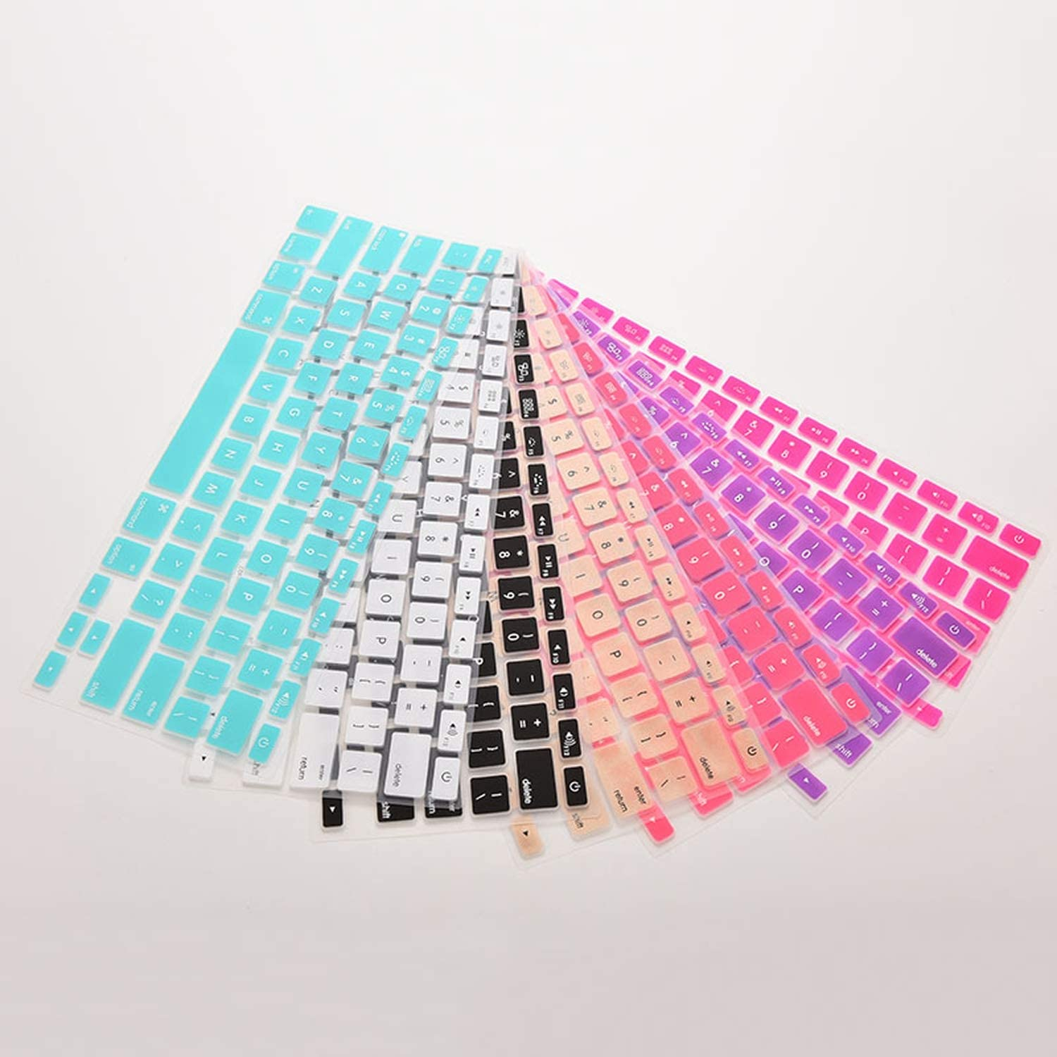7 Candy Colors Silicone Keyboard Cover Sticker for MacBook Air 13 Pro 13 15 17 Protector Sticker Film-Pink