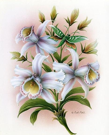 Decoupage White Orchid Flower Print 3D Decoupage Sheets