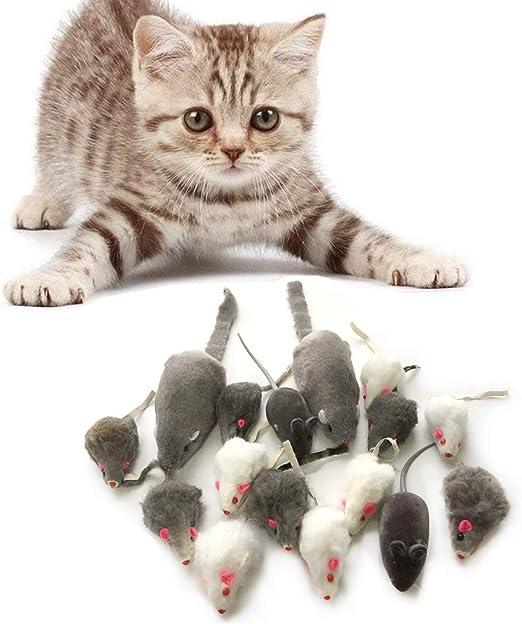 PietyPet Juguetes para Gatos, 16 Piezas Peludo Ratones sonajero pequeño Ratón Gato Gatito Interactivo, Colores Variados: Amazon.es: Productos para mascotas