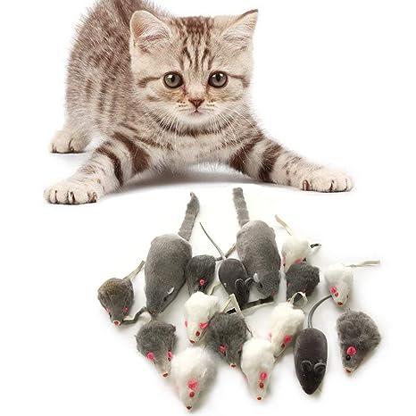 PietyPet Juguetes para Gatos, 16 Piezas Peludo Ratones sonajero pequeño Ratón Gato Gatito Interactivo,
