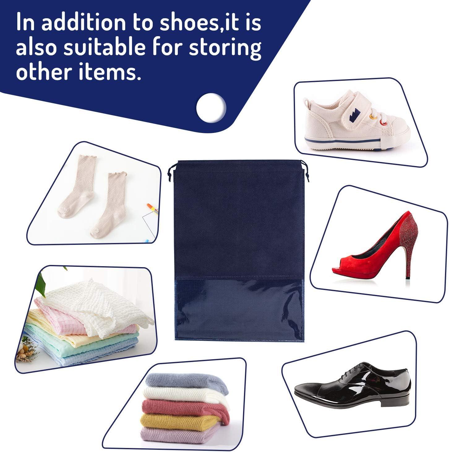 Whaline 15 Pi/èces Sac /à Chaussures de Voyage Grand Sac de Rangement pour Chaussures Non-tiss/é avec Fen/être Transparente pour Homme et Femme Bleu Ciel