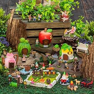 37 Piece Enchanted Fairy Garden Set | Fairy Houses, Accessories, Dog, Fairies, Dog, Garden, Rocks