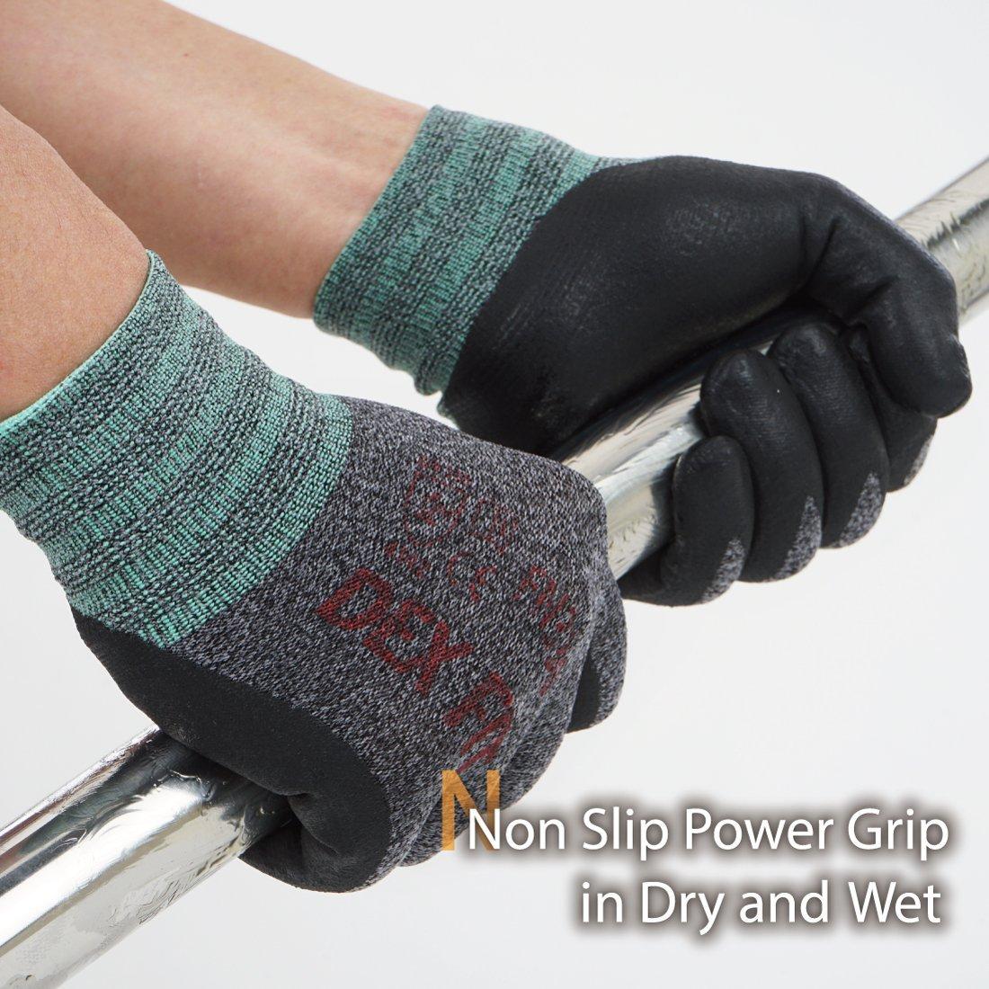 agarre de poder de la comodidad 3D lavable a m/áquina ajuste el/ástico fino de Nylon Spandex DEX FIT FN330 Guantes de trabajo Grande, 3PR negro fn320 Espuma de nitrilo duradero Smart Touch