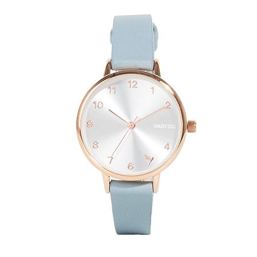 Parfois - Reloj Round - Mujeres - Tallas Única - Azul Claro: Amazon.es: Relojes