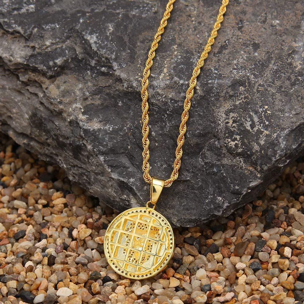 Rap jewelry mens micro-inlaid zircon lion head pendant round military pendant hip hop jewelry gold, silver