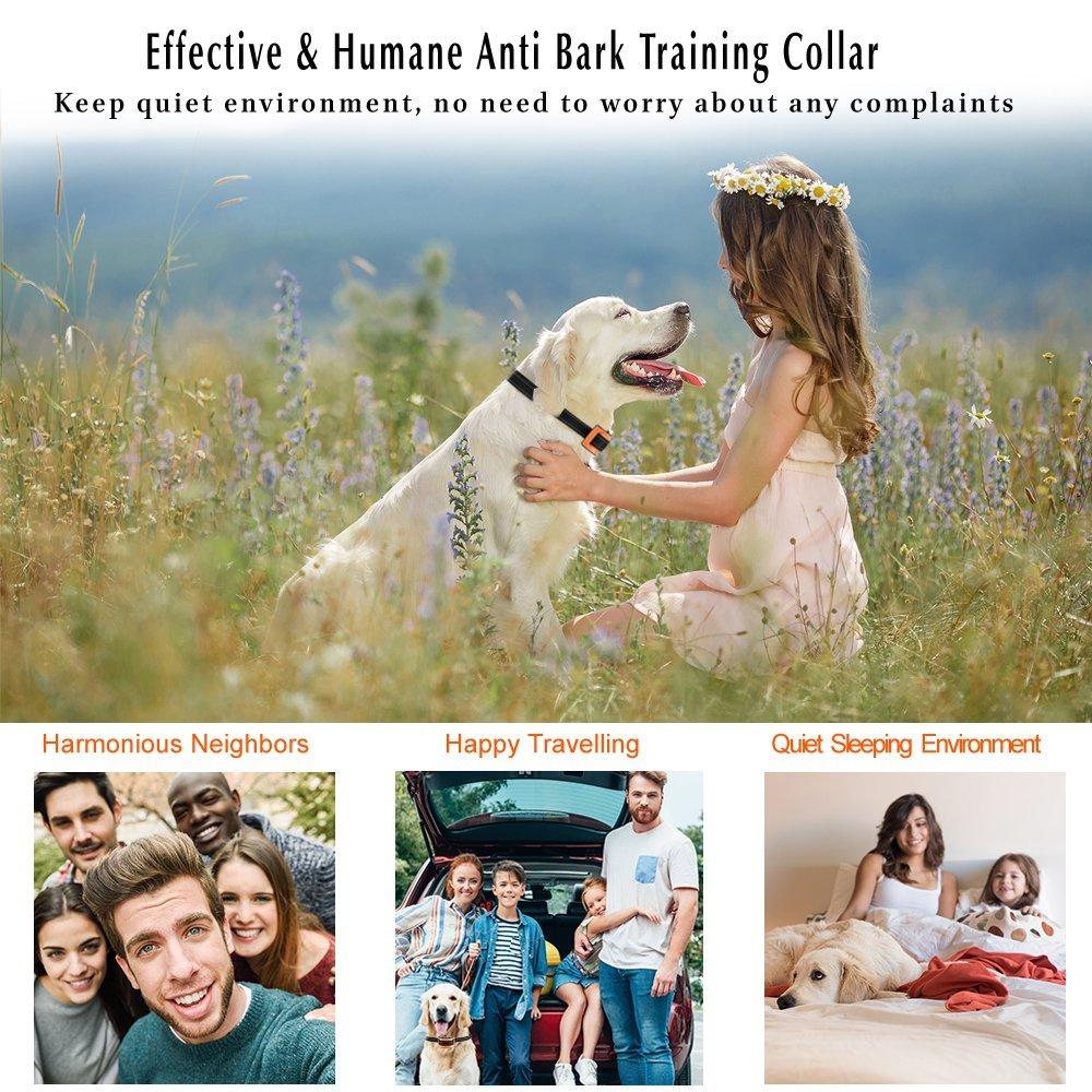 Oternal Bark Collar Stop Dog Barking - Humane and Harmless Anti Bark Dog Training Collar - Smart Barking Detection Collar - Control Dog Bark for Small, Medium, Large Dog (Orange)