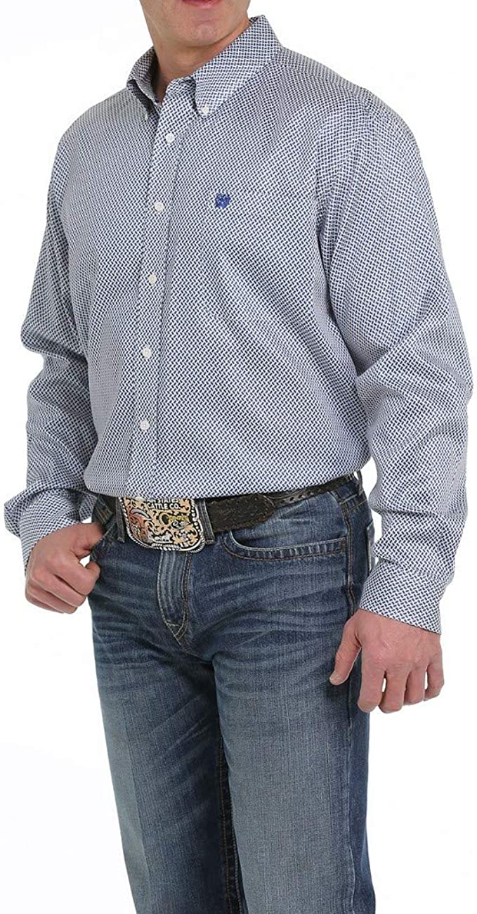 Cinch Mens Cream Geo Print Short Sleeve Western Shirt