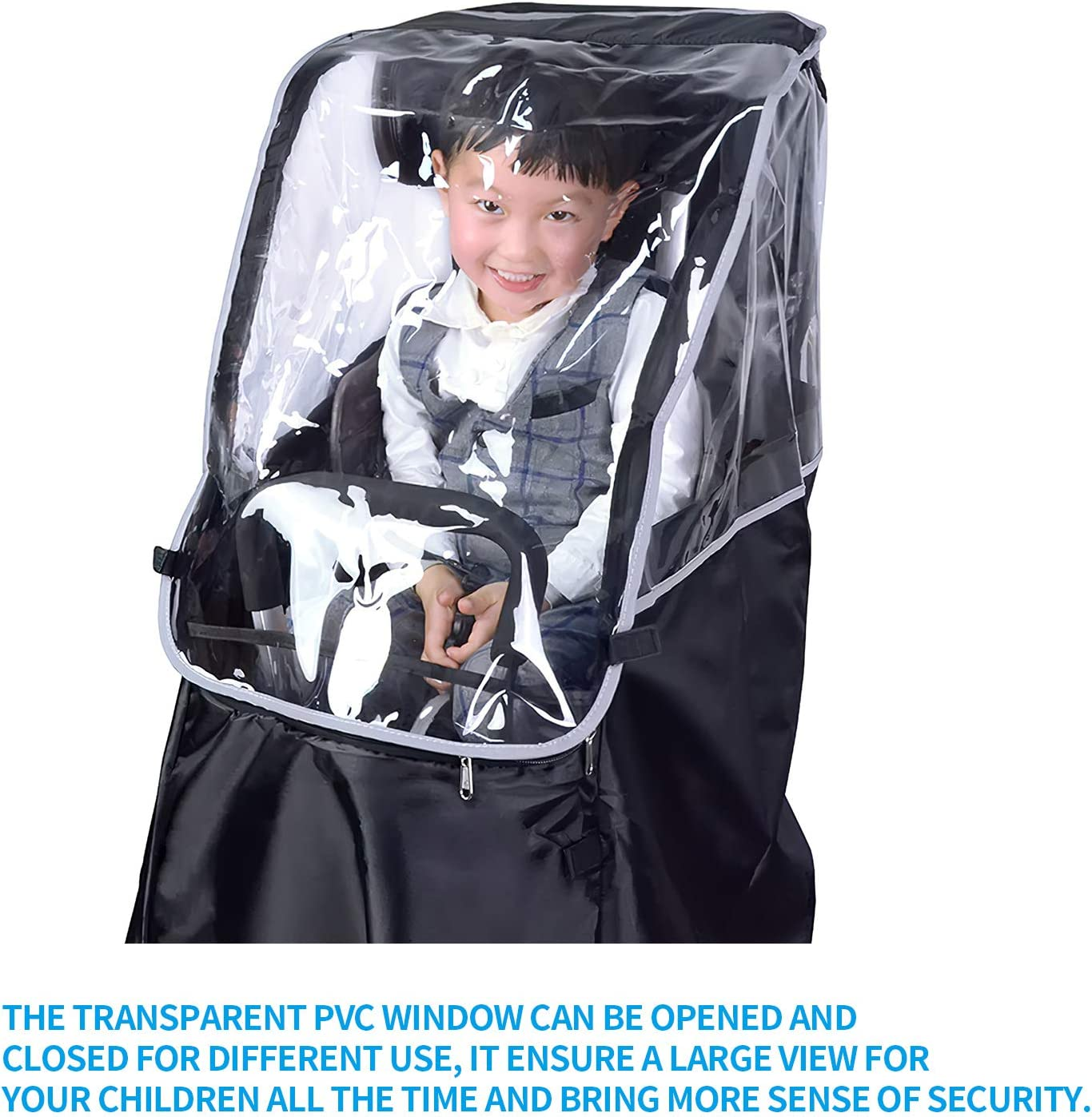 Practical Foldable Rain Cover GGHKDD Bicycle Rear Seat Children Rain Gear Durable Bike Accessory for Kids Bicycle Portable PVC Transparent Poncho