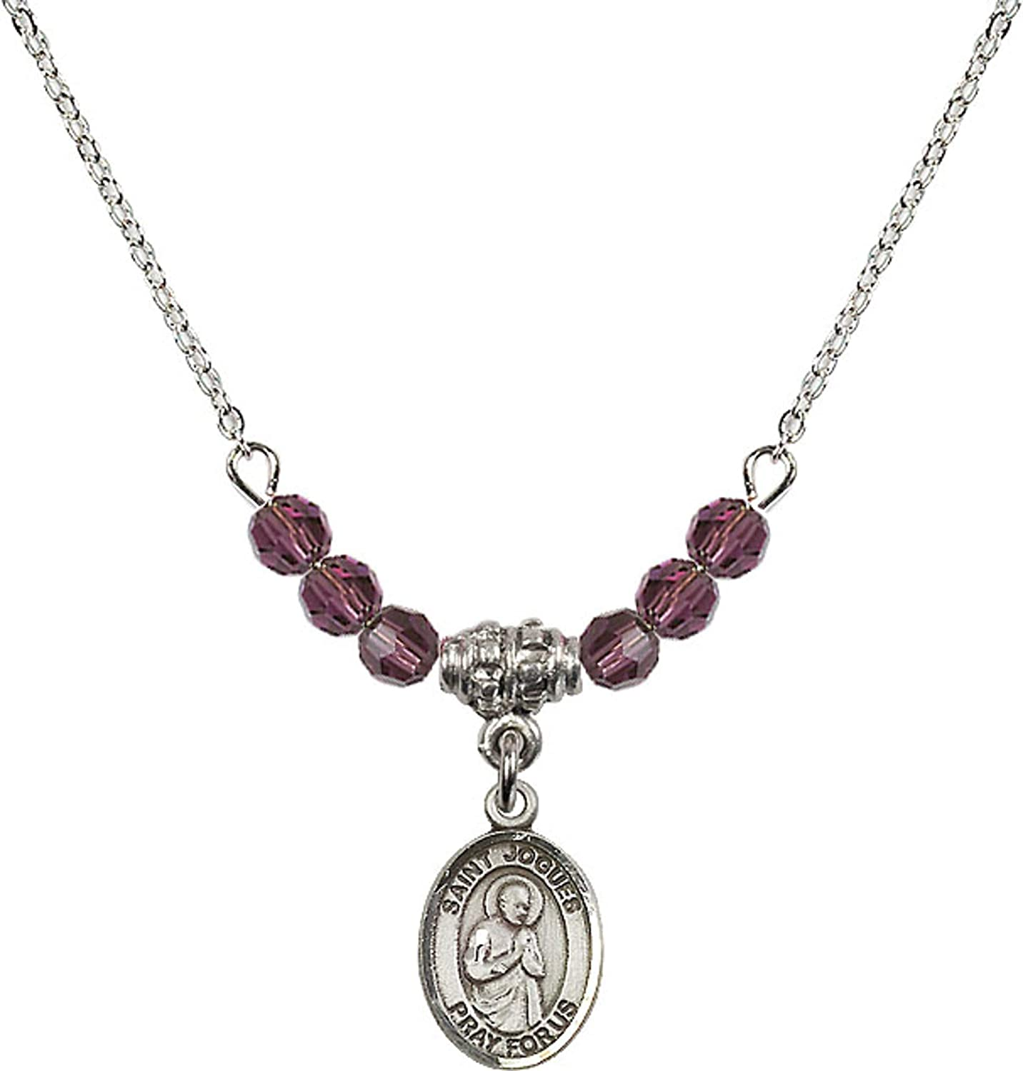 Bonyak Jewelry 18 Inch Rhodium Plated Necklace w// 4mm Purple February Birth Month Stone Beads and Saint Isaac Jogues Charm