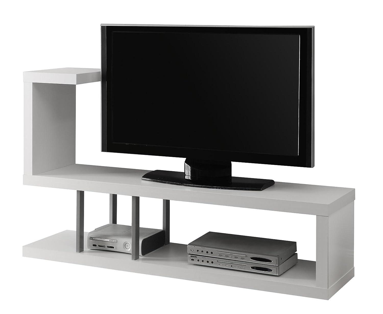 Monarch Hollow Core Tv Stand 60 Inch White Amazon Co Uk  # Table Tele Lcd Et Led En Bois