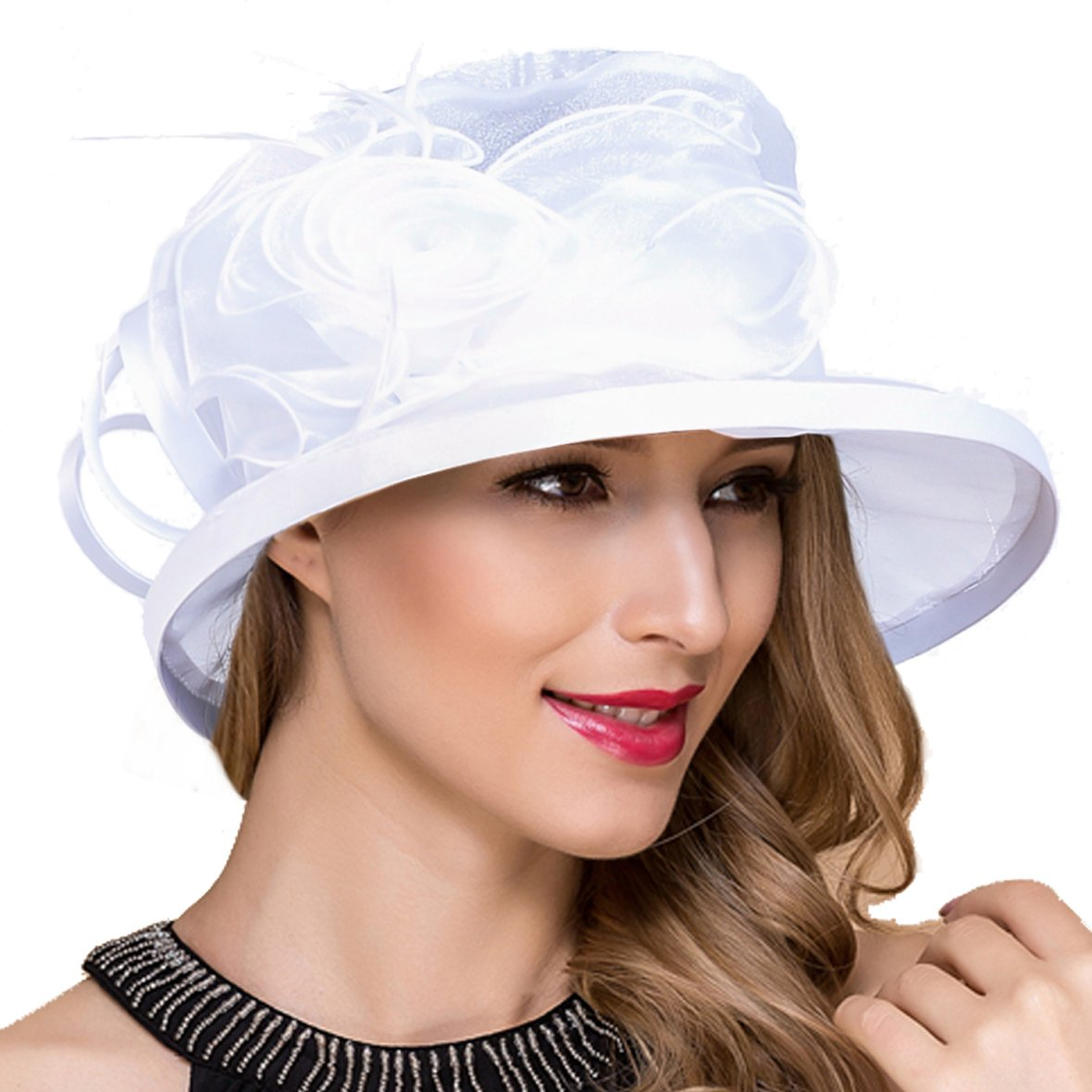 Lady Church Derby Dress Cloche Hat Fascinator Floral Tea Party Wedding Bucket Hat S051 (S043-White)