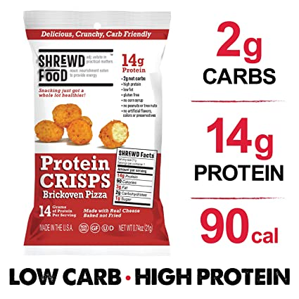 Shrewd Food Low Carb Keto Protein Puffs Brickoven Pizza 8 Pack   112g Protein (14g per Serving), 2g Carbs   High Protein, Gluten Free Snacks, Real ...