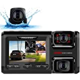 Pruveeo D40 Three and Dual Channel Dash Cam, Front Inside and Rear with Backup Camera, Dash Camera for Cars, 3.0 inch…