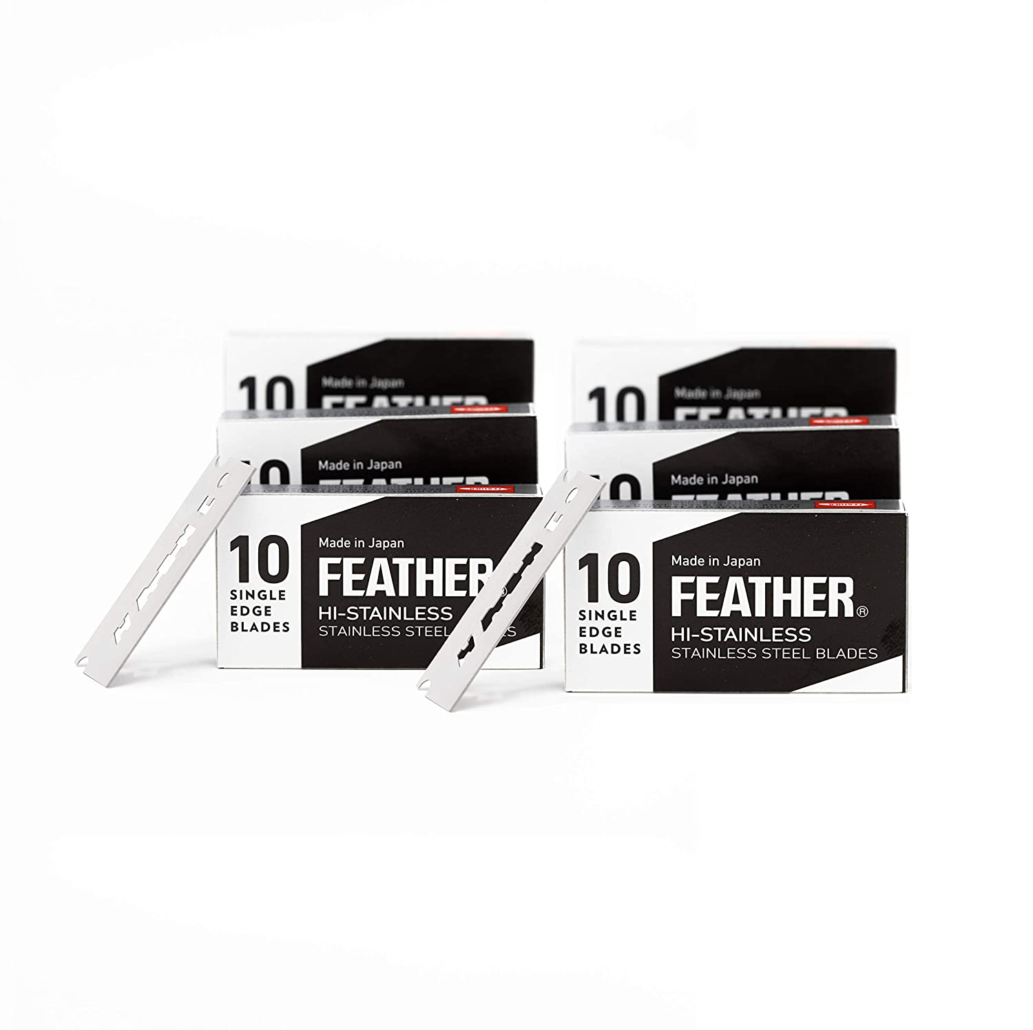 Feather FHS-10 Single Edge Razor Blades (60 Count) with Disposal Bank