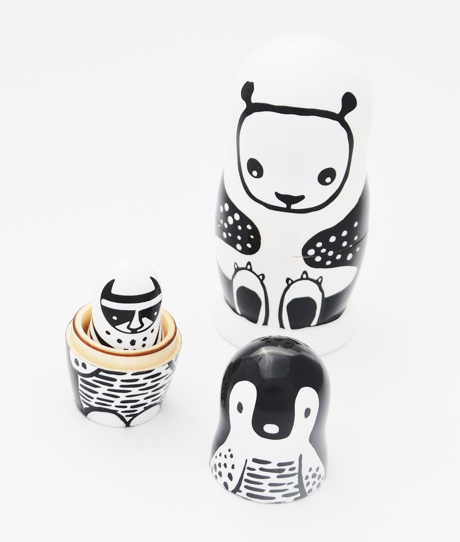 Wee Gallery Set of 3 Nesting Dolls, Handmade Stacking Russian Dolls - Black and White Animals