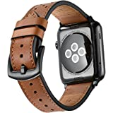 Mifa - Apple Watch band Leather 42mm Bands iwatch series 1 2 3 Nike Sports Replacement strap dressy classic buckle vintage case Band with Black Stainless Steel Adapters (42mm, Brown)