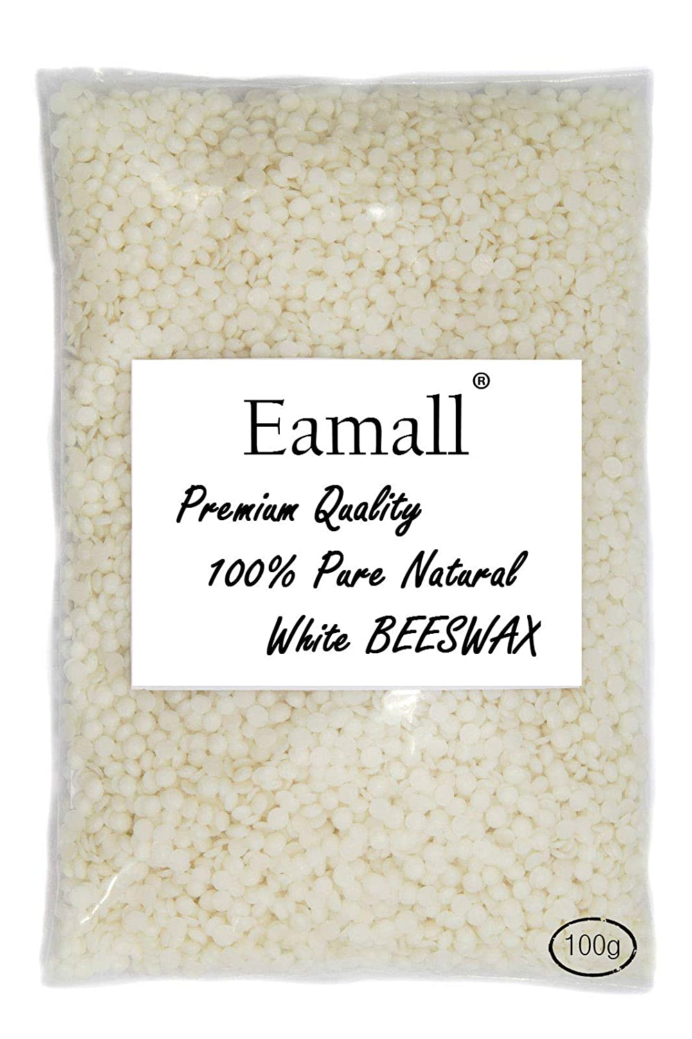 White Beeswax Pellets-100% Pure and Natural, Cosmetic Grade by Eamall - 300g(in 100g Bags)