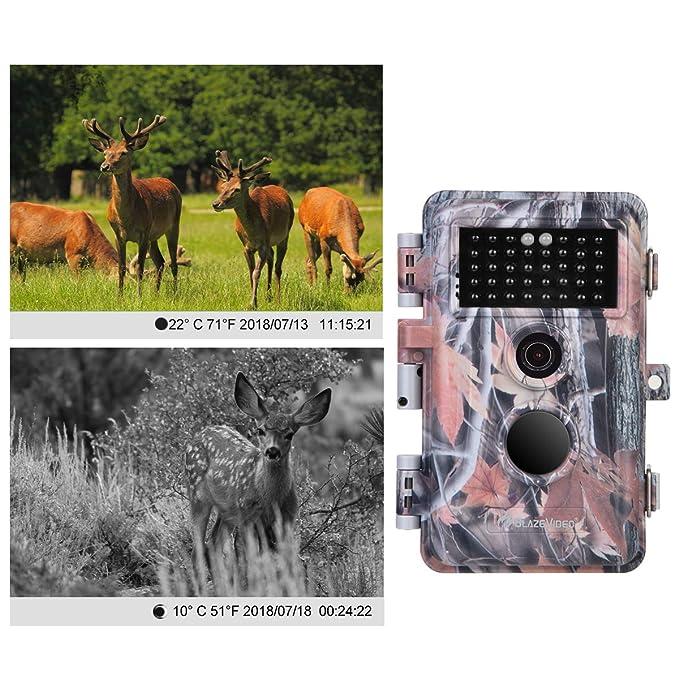 BlazeVideo 1920x1080 Pixel Video 16MP Foto Cámara de Caza, Sensor de Movimiento Activado a Prueba de Agua IP66 con Visión Nocturna 38pcs IR LED de hasta 65 ...