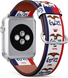 S-Type iWatch Leather Strap Printing Replacement Wristbands Compatible with Apple Watch 4/3/2/1 Sport Series (42mm) - State Flag of Iowa