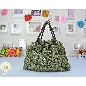MOXIN Bolsa tejida - Bolso de la playa del Crochet de las mujeres, bolso de hombro ocasional?Mango redondo de perlas de madera , B: Amazon.es: Deportes y ...