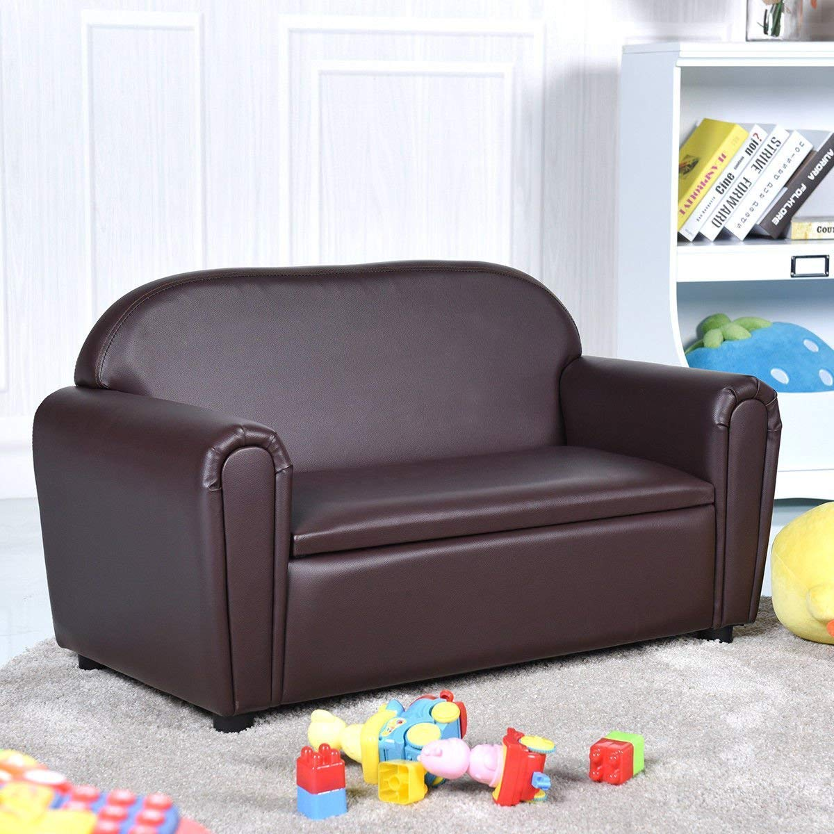 Costzon Kids Sofa, Upholstered Couch, Sturdy Wood Construction, Armrest Chair for Preschool Children, Couch with Storage Box
