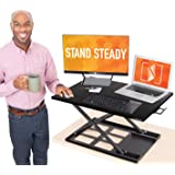 Stand Steady X-Elite Pro Standing Desk Converter | Instantly Convert Any Desk into a Sit to Stand Up Desk | Easy Lift Height