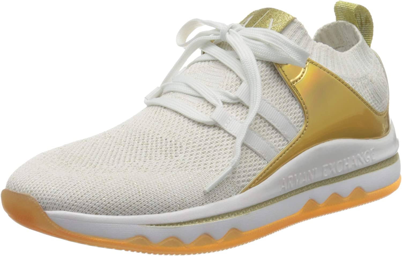Armani Exchange Sock Sneakers, Zapatillas Mujer, Blanco (White/Blue Gold R579), 40 EU
