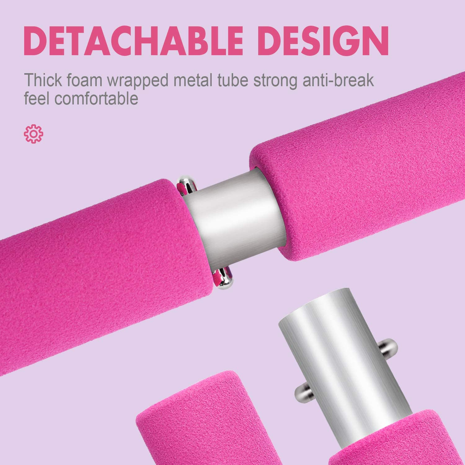 Max4out Pilates Bar Kit Portable Pilates Stick for Home Gym Improve Fitness, Build Muscle, Strength Exercises, Pink : Sports & Outdoors